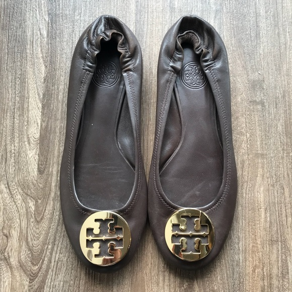 Tory Burch Shoes - Tory Burch Minnie Flat Brown and Gold